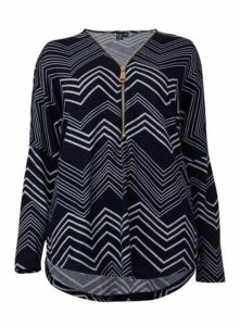 **Izabel Curve Navy Blue Zip Neck Jumper, Navy