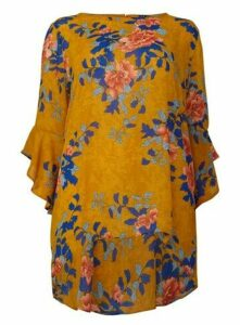 **Izabel Curve Mustard Floral Frill Sleeve Blouse, Mustard