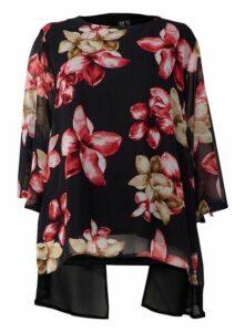 **Izabel Curve Red Floral Sheer Overlay Blouse, Red