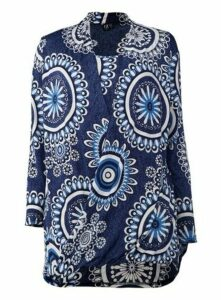 **Izabel Curve Blue Print Wrap Front Top, Blue