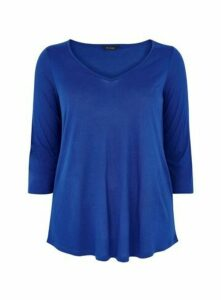 Blue V-Neck ¾ Sleeve Top, Cobalt