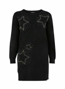 Black Star Embellished Tunic Jumper, Black