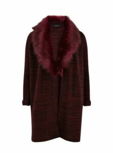Plum Faux Fur Collar Cardigan, Plum