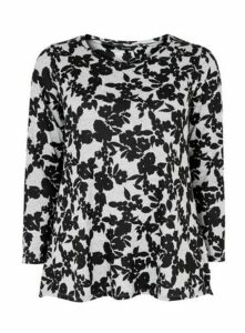 Grey Floral Print Soft Touch Top, Grey