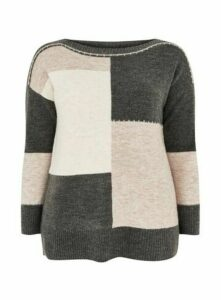 Grey Colour Block Jumper, Grey