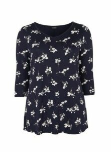 Navy Blue Daisy Floral Print Top, Navy