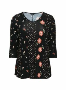 Black Floral Polka Dot Print Top, Black