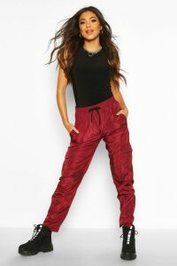 Womens Tie Waist Cargo Pocket Trousers - Red - 14, Red