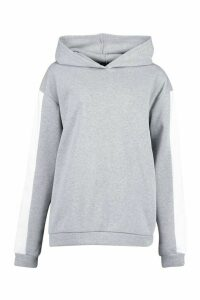 Womens Tall Side Stripe Oversized Hoody - grey - 16, Grey