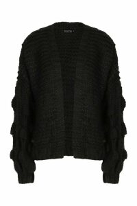 Womens Tall Hand Knitted Bobble Sleeve Cardigan - black - One Size, Black