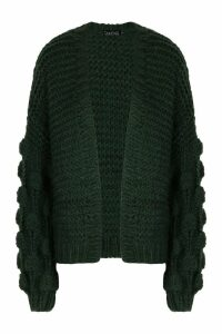 Womens Tall Hand Knitted Bobble Sleeve Cardigan - green - One Size, Green