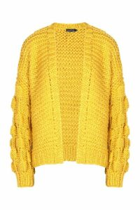 Womens Tall Hand Knitted Bobble Sleeve Cardigan - yellow - One Size, Yellow