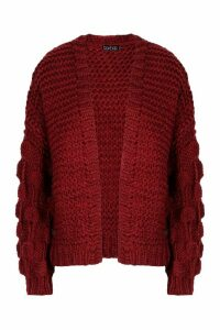 Womens Tall Hand Knitted Bobble Sleeve Cardigan - red - One Size, Red