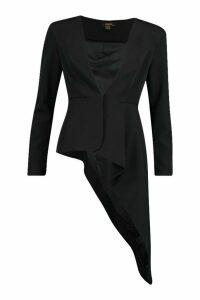 Womens Premium Asymetric Blazer - Black - 10, Black