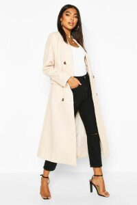 Womens Tall Double Breasted Longline Wool Coat - White - M, White