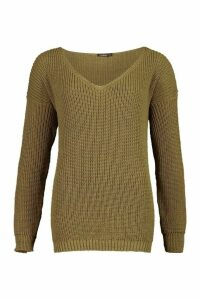 Womens Oversized V Neck Jumper - green - XS, Green