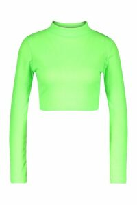 Womens High Neck Long Sleeve Rib Top - green - 16, Green