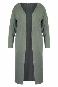 Womens Plus Rib Pocket Longline Cardigan - green - 20, Green