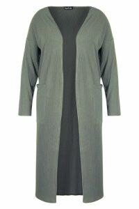 Womens Plus Rib Pocket Longline Cardigan - green - 20, Green