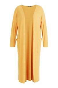 Womens Plus Rib Pocket Longline Cardigan - yellow - 20, Yellow