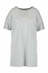 Womens Plus Glitter Metallic Oversized T-Shirt Dress - Grey - 18, Grey