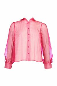 Womens Organza Mesh Long Sleeve Blouse - Pink - 14, Pink