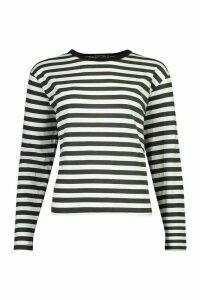 Womens Basic Stripe Cotton Long Sleeve T-Shirt - black - 6, Black