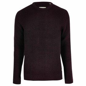 Mens River Island Jack and Jones dark Red knit jumper