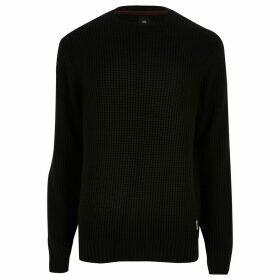 Mens River Island Black slim fit crew neck knitted jumper