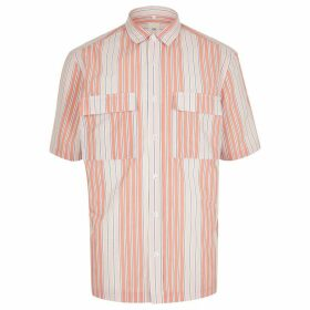 Mens River Island Pink stripe double pocket shirt