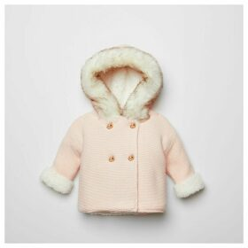 River Island Baby Pink faux fur hood knitted cardigan