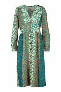 Womens Leopard Print Button Through Midi Dress - green - 10, Green