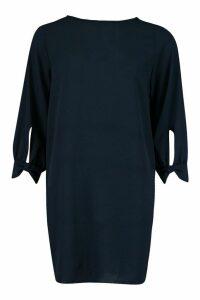 Womens Bow Sleeve Woven Shift Dress - navy - 12, Navy