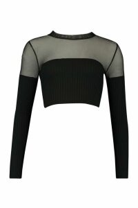 Womens High Neck Top With Upper Mesh Feature - black - 12, Black