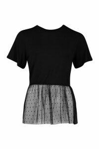 Womens Spot Mesh Ruffle Hem Tee - black - 12, Black
