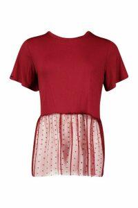 Womens Spot Mesh Ruffle Hem Tee - red - 10, Red