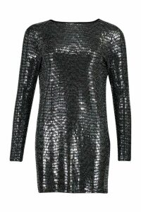 Womens Backless Mini Shift Dress In Sequin - grey - 14, Grey