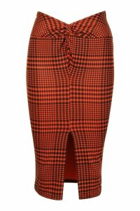 Womens Jersey Check Midi Skirt With Front Slit - black - 12, Black