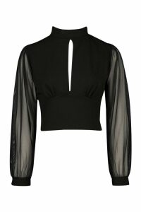 Womens roll/polo neck Pleated Mesh Sleeve Detail Top - black - 12, Black