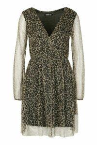 Womens Leopard Mesh Wrap Skater Dress - brown - 18, Brown