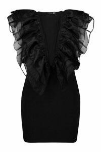 Womens Plus Organza Ruffle Bodycon Dress - black - 24, Black