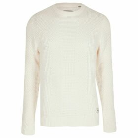 Mens River Island Jack and Jones White knit jumper