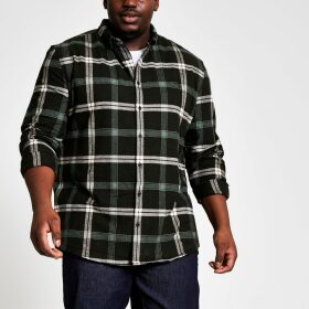 Mens River Island Big and Tall Black check regular fit shirt