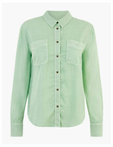 M&S Collection Tencel  Button Detailed Patch Pocket Shirt