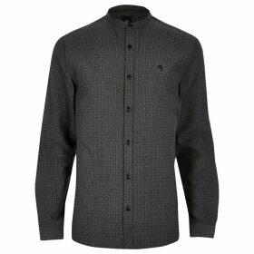 Mens River Island Big and Tall Grey textured slim fit shirt