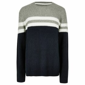 Mens River Island Big and Tall Only & Sons Navy stripe jumper
