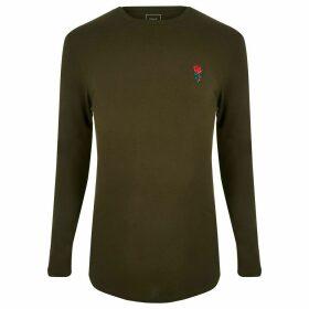 Mens River Island Dark Green muscle fit long sleeve T-shirt