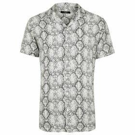 Mens River Island Jack and Jones White snake print short shirt