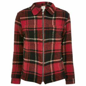 Mens River Island Big and Tall Red check zip through overshirt