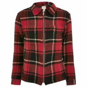 Mens River Island Big and Tall Red check zip through overshirt